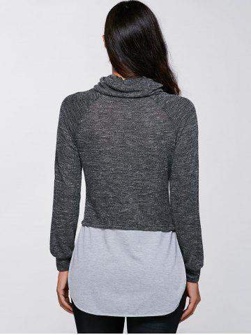 Fashion Casual Turtleneck Slit Pullover Sweatshirt - XL GRAY Mobile