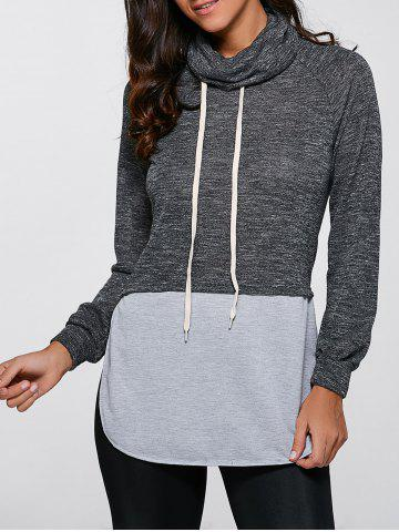 Fancy Casual Turtleneck Slit Pullover Sweatshirt - XL GRAY Mobile
