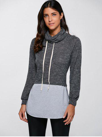 Hot Casual Turtleneck Slit Pullover Sweatshirt - M GRAY Mobile