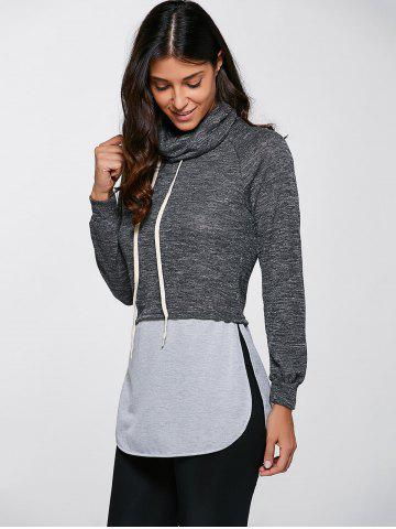 Latest Casual Turtleneck Slit Pullover Sweatshirt - M GRAY Mobile