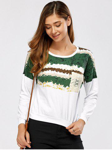 Fashion Drop Shoulder Lace Pocket Print Pollover Sweatshirt