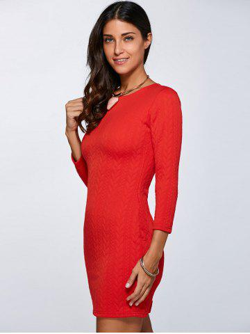 Affordable 3/4 Sleeve Mini Sheath Dress - L RED Mobile