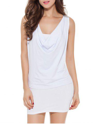 Hot Sleeveless Patch Design Lace-Up Bodycon Dress WHITE ONE SIZE