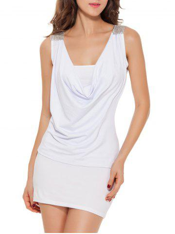 Fashion Sleeveless Patch Design Lace-Up Bodycon Dress - ONE SIZE WHITE Mobile