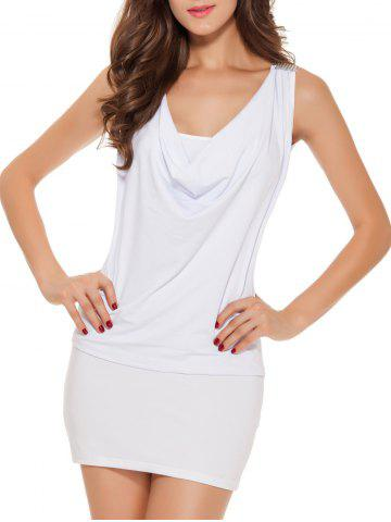 Shops Sleeveless Patch Design Lace-Up Bodycon Dress - ONE SIZE WHITE Mobile