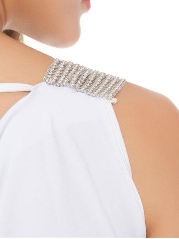 Hot Sleeveless Patch Design Lace-Up Bodycon Dress - ONE SIZE WHITE Mobile