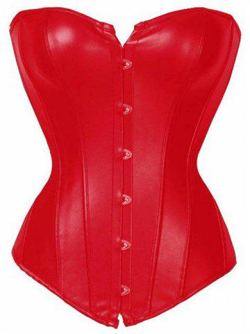 Hot Buckle Faux Leather Lace-Up Corset - L RED Mobile