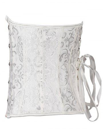 Hot Jacquard Buckle Lace-Up Corset - 5XL WHITE Mobile