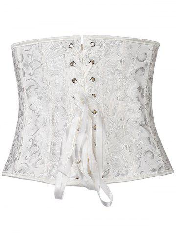 Shop Jacquard Buckle Lace-Up Corset - L WHITE Mobile