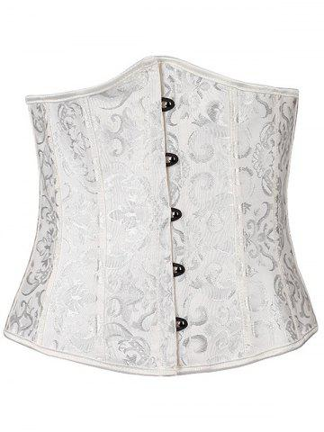 New Jacquard Buckle Lace-Up Corset - L WHITE Mobile