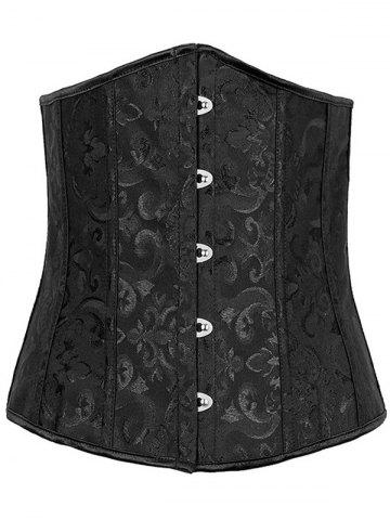Unique Jacquard Buckle Lace-Up Corset - 6XL BLACK Mobile