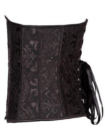 Online Jacquard Buckle Lace-Up Corset - 6XL BLACK Mobile