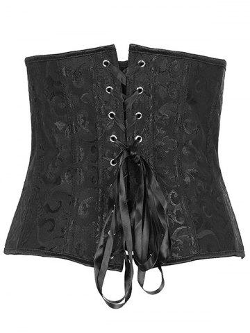 Affordable Jacquard Buckle Lace-Up Corset - S BLACK Mobile
