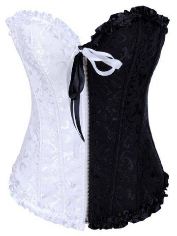 Discount Ruffled Jacquard Lace-Up Corset