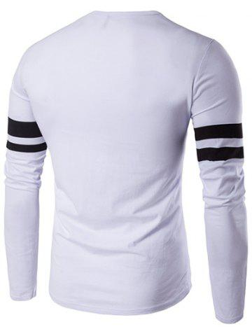 Outfits Lonely Print Varsity Stripe T-Shirt - 2XL WHITE Mobile