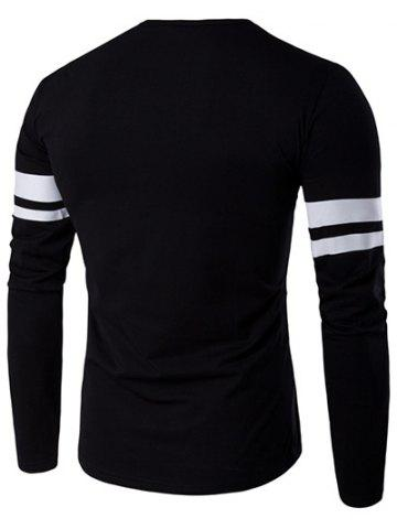 Outfit Lonely Print Varsity Stripe T-Shirt - 5XL BLACK Mobile