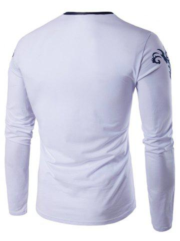 New Long Sleeve Scrawl Printed V Neck Tee - L WHITE Mobile