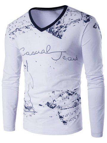 Outfit Long Sleeve Scrawl Printed V Neck Tee - L WHITE Mobile