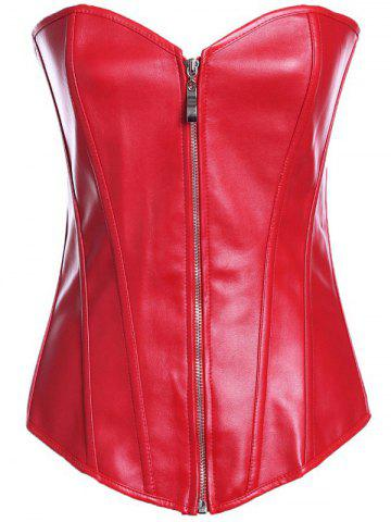 Shops Zippered Faux Leather Lace-Up Corset RED 4XL