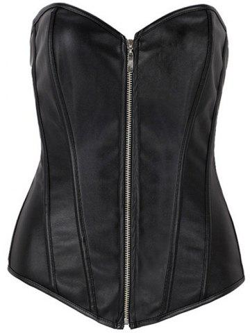 Zippered Faux Leather Lace-Up Corset - Black - 3xl