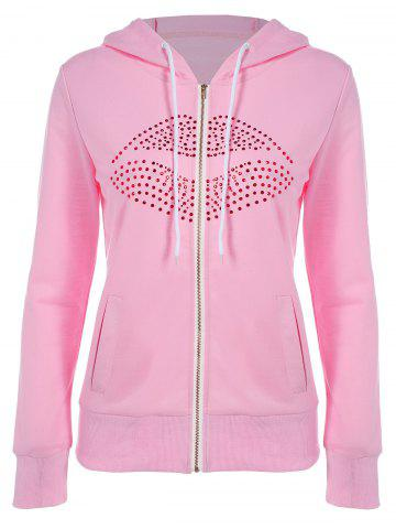 Shops Drawstring Lip Pattern Zip Up Hoodie PINK XL