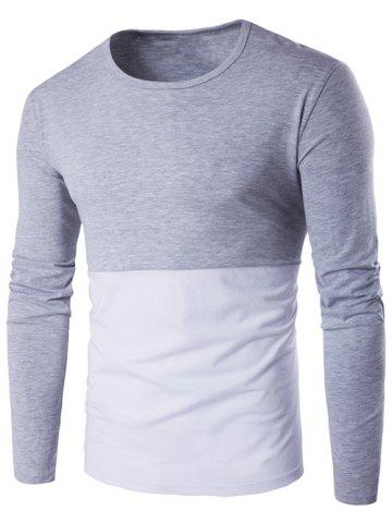 Shop Long Sleeve Round Neck Color Block T-Shirt GRAY L