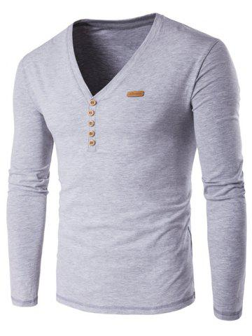 Fancy V-Neck Patch Design Henley Shirt GRAY 5XL