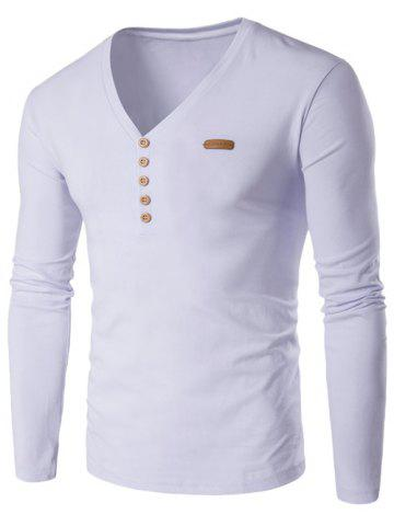 Outfits V-Neck Patch Design Henley Shirt WHITE 2XL