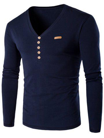 Cheap V-Neck Patch Design Henley Shirt - M CADETBLUE Mobile