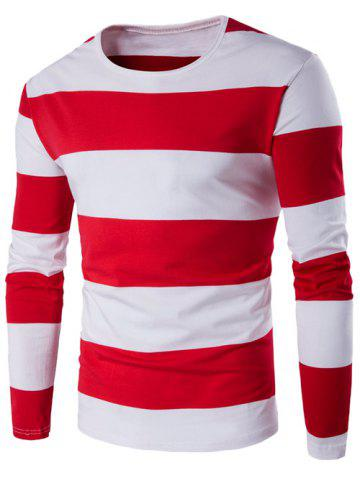 Unique Long Sleeve Stripe T-Shirt - XL RED Mobile