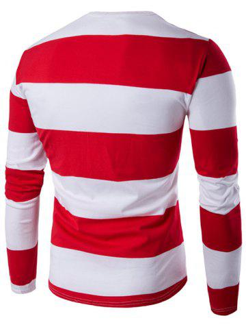 Affordable Long Sleeve Stripe T-Shirt - M RED Mobile