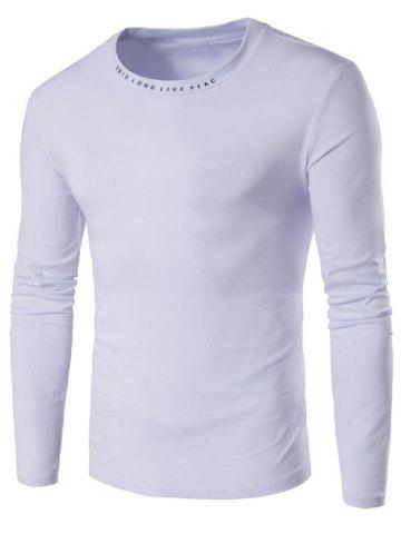 Hot Long Sleeve Letter Printed Neck T-Shirt WHITE XL