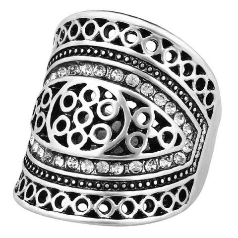 Sale Rhinestone Hollow Out Geometry Ring