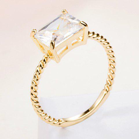 Buy Twist Circle Geometric Artificial Diamond Ring - ONE-SIZE GOLDEN Mobile