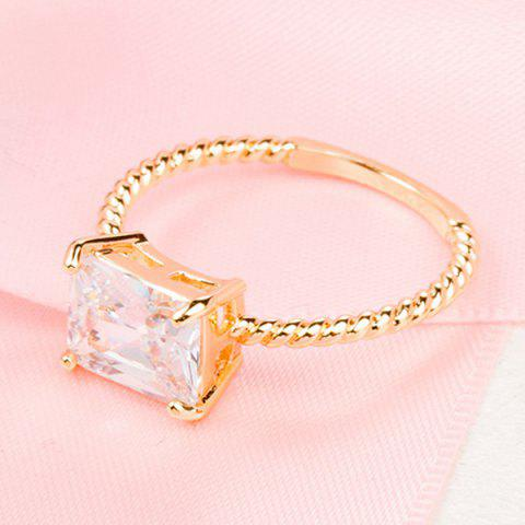 Best Twist Circle Geometric Artificial Diamond Ring - ONE-SIZE GOLDEN Mobile