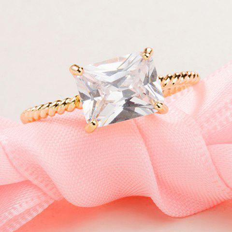 Hot Twist Circle Geometric Artificial Diamond Ring - ONE-SIZE GOLDEN Mobile
