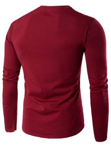 Unique V-Neck Button Fly Long Sleeve T-Shirt - 2XL WINE RED Mobile