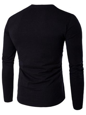 Store V-Neck Button Fly Long Sleeve T-Shirt - 4XL BLACK Mobile