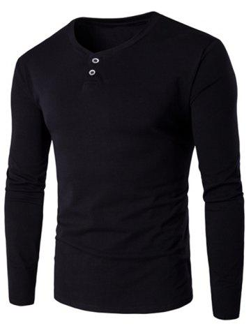 Chic V-Neck Button Fly Long Sleeve T-Shirt - L BLACK Mobile
