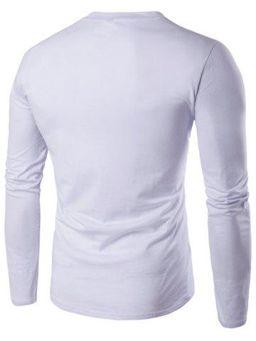 Discount V-Neck Button Fly Long Sleeve T-Shirt - L WHITE Mobile