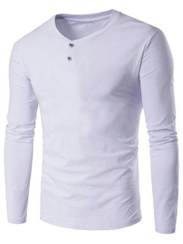 Online V-Neck Button Fly Long Sleeve T-Shirt - L WHITE Mobile