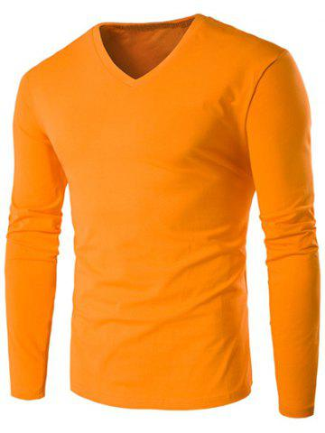 Outfits V Neck Long Sleeve Plain T Shirt