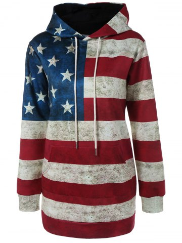 Chic Hooded Flag Print Patriotic Dress DEEP RED XL