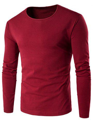 Hot Slim-Fit Round Neck Long Sleeve T-Shirt WINE RED 3XL