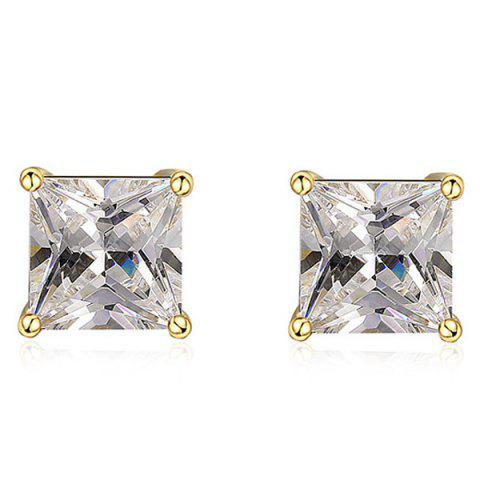 Rhinestone Square Stud Earrings - Golden