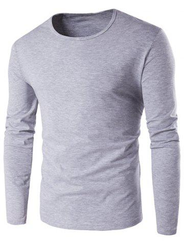 Trendy Slim-Fit Round Neck Long Sleeve T-Shirt GRAY L