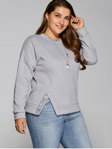 Affordable Slit Letter Thickening Sweatshirt GRAY 2XL