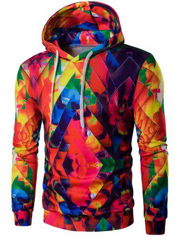 Shops Drawstring Zigzag Graphic Hoodie COLORFUL 2XL