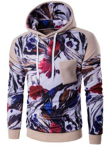 Affordable Floral Print Patchwork Design Pullover Hoodie KHAKI 2XL