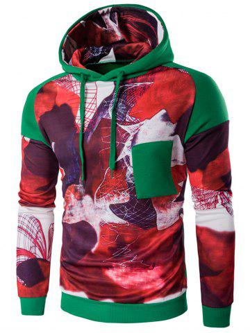 Printed Patchwork Design Pullover Hoodie - GREEN XL